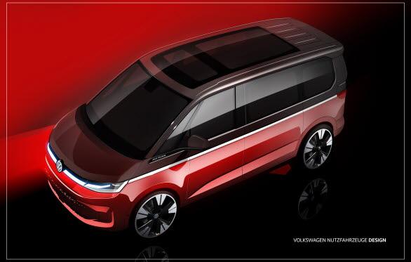 Designskiss av nya Multivan som har världspremiär 10 juni