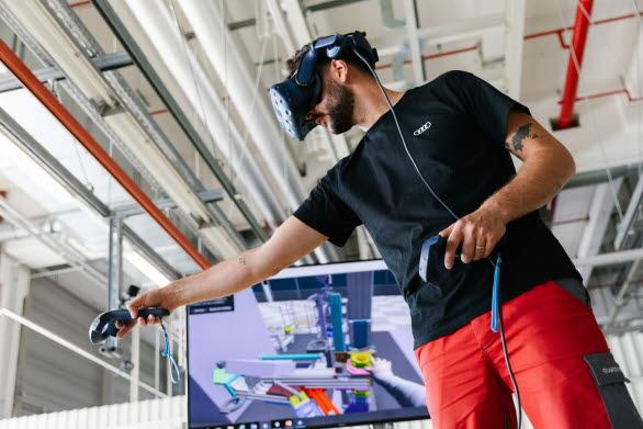 Monteringslinan testades helt digitalt med hjälp av VR