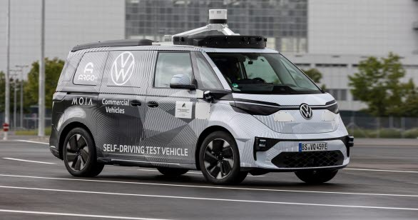 Prototyp av ID. Buzz som använder radar, lidar och kameror för utvecklandet av en helt självkörande bil till år 2025.