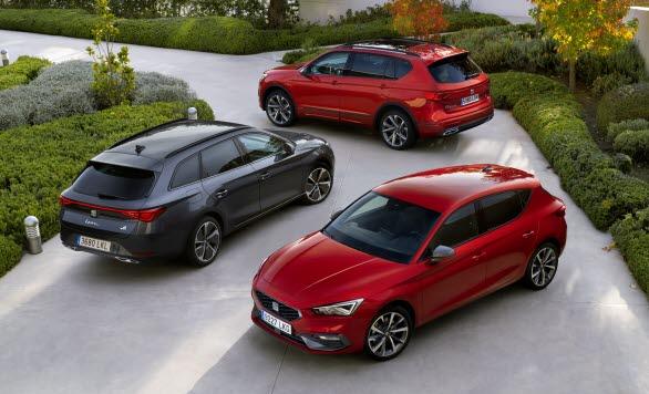 Laddbara modeller från SEAT; SEAT Leon e-Hybrid, SEAT Leon Sportstourer e-Hybrid, SEAT Tarraco e-Hybrid.