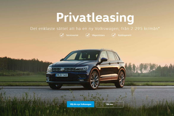 Volkswagen Tiguan är en populär bil för privatleasing.