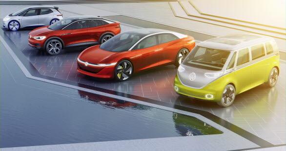 Volkswagens mål är att år 2025 ha lanserat mer än 20 nya, helt eldrivna bilar. Bilarna på bilden är konceptbilar.