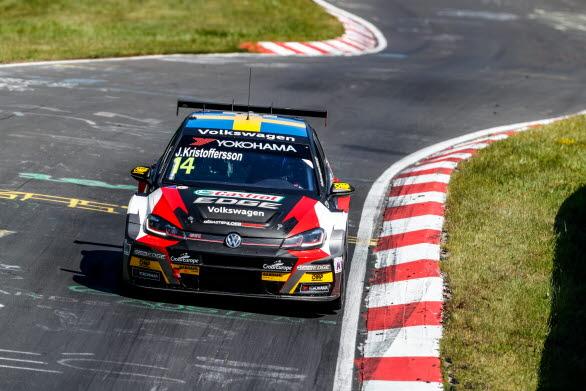 Johan Kristoffersson tog sin första WTCR-seger i karriären när han vann andra racet på Nürburgring.