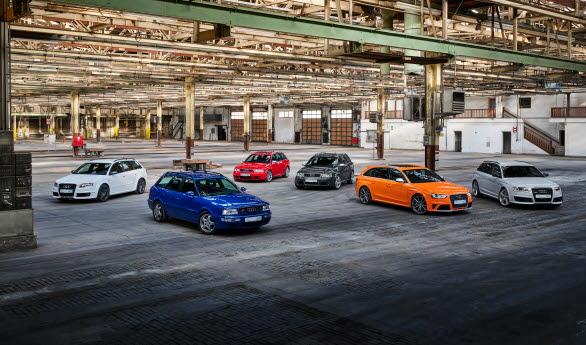 Från vänster: Audi RS 4 Avant (Typ B7), Audi RS 2 Avant, Audi RS 4 Avant (Typ B5), Audi RS 6 Avant (Typ C5), Audi RS 4 Avant (Typ B8), Audi RS 6 Avant (Typ C6)