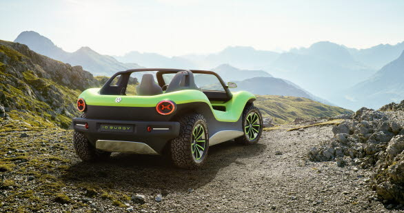 Med konceptbilen ID. BUGGY vill Volkswagen visa fram en ny, fritidsinriktad sida av e-mobiliteten.