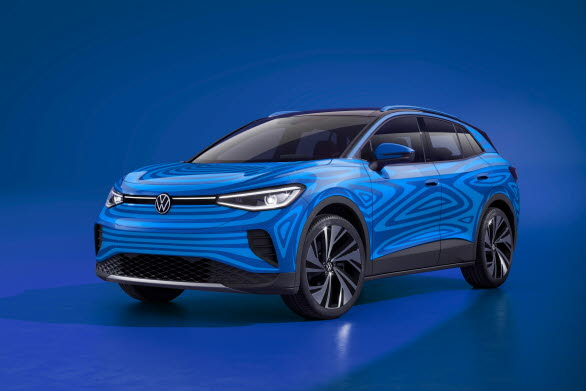 Designskiss på Volkswagens eldrivna SUV ID.4.