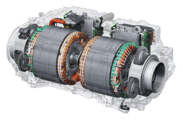 Dubbla motorer på bakaxeln i e-tron S med kraftelektronik och reduktionsväxellåda