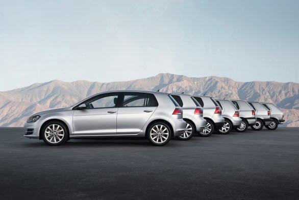 Sju generationer av storsäljaren Golf.
