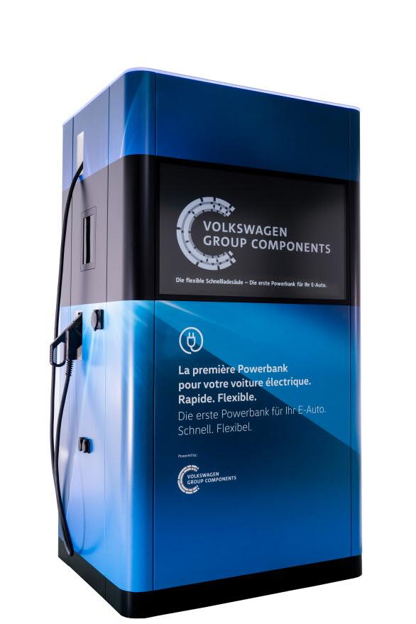 Den mobila snabbladdningsstationen, som också utvecklas av Volkswagen Group Components, kan placeras var som helst för att ladda elbilar.